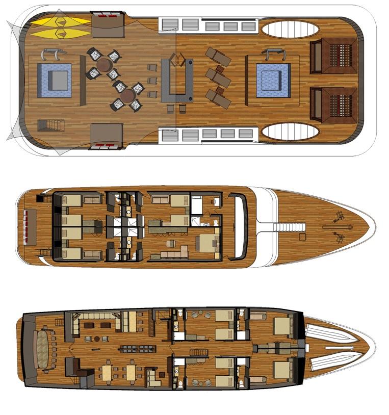 El plano de cubiertas sirve para orientarse en el catamaran seastar