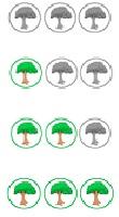 La sostenibilidad de los hoteles está evaluado con un sistema de logotipos con arboles