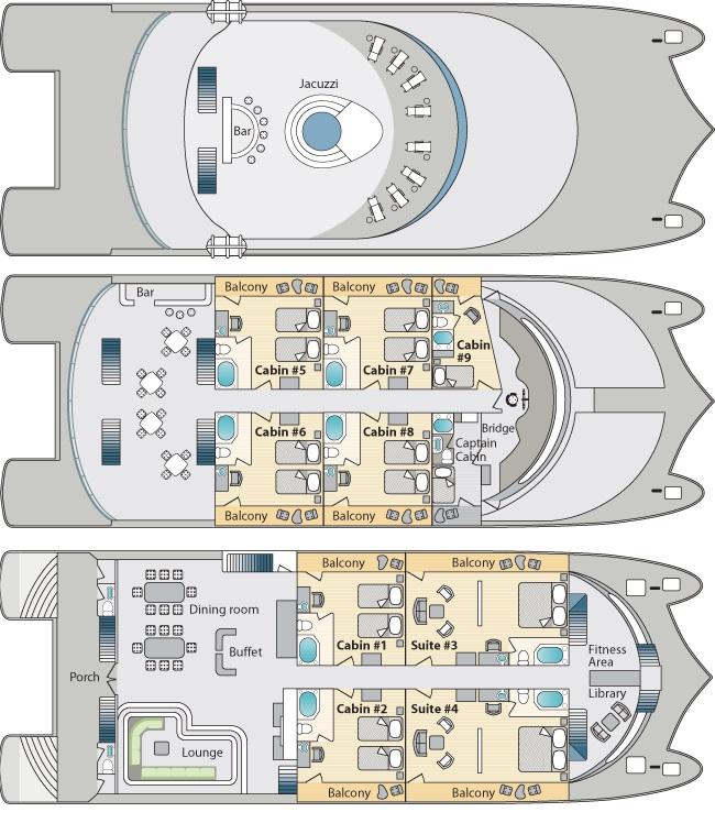 El plano de cubiertas sirve para orientarse en el catamaran Petrel