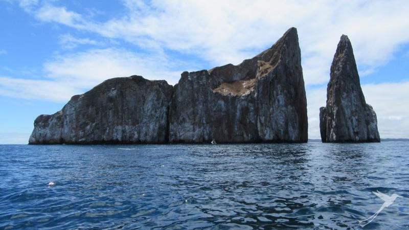 The Kicker Rock is an impressive rock formation near San Cristobal Island.