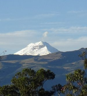 On clear dazs zou can see the snowcovered Cotopaxi summit from far away