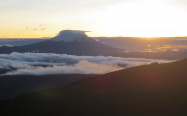 With some luck you can observe a breathtaking sunrise during the Cotopaxi climbing tour