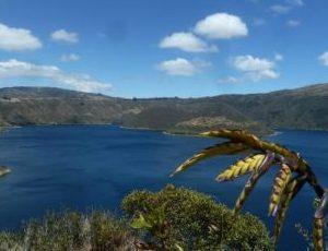 Near Otavalo you can hike around the beautiful Cuicocha lagoon.