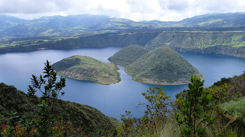 From Otavalo you can go on a dauy tour to the Cuicocha Lake
