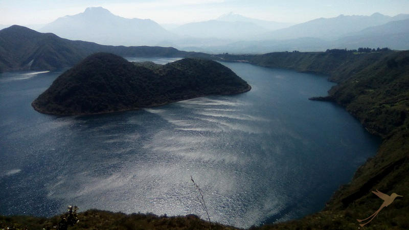The Cuicocha crater lake is up to 150 m deep.