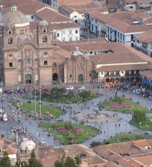 The main square of Cusco is huge