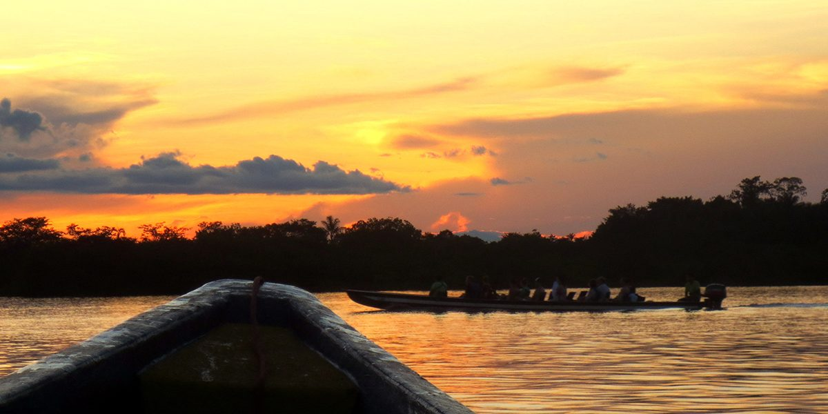 Enjoy beautiful sunsets at the cuyabeno reserve.