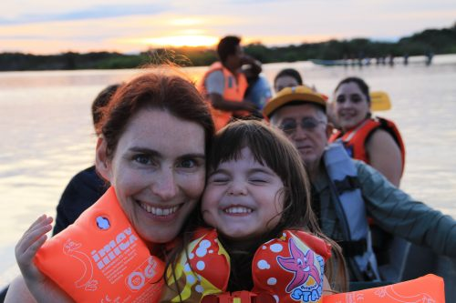 A boat ride on the Cuyabeno River is fun for kids.