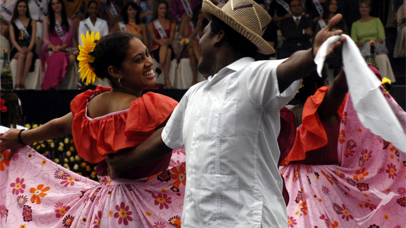 The costumes of the Ecuadorian dances are very colorful