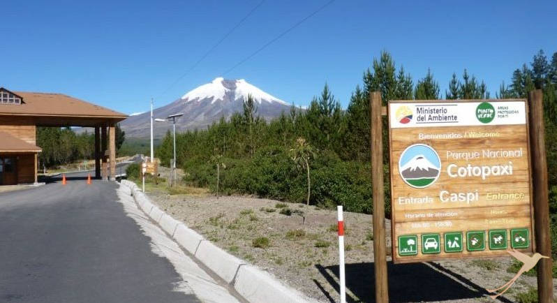 On clear days you can see the snow covered summit of the Cotopaxi from far away.