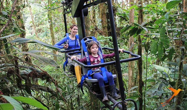 air bicycle in the cloud forest near Mashpi Lodge