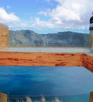 Admire the clear blue water of Quilotoa from the Observation Deck