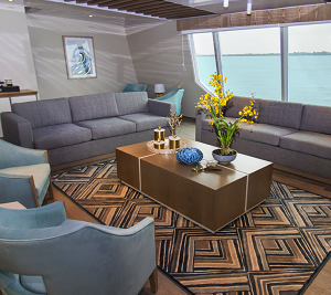 The interior of the Galapagos Endemic luxury Catamaran is comfortable and spacious.