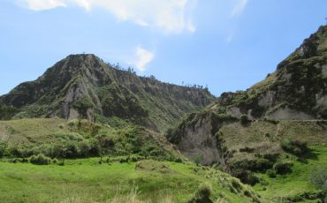 The landscape near the Quilotoa crater is impressive