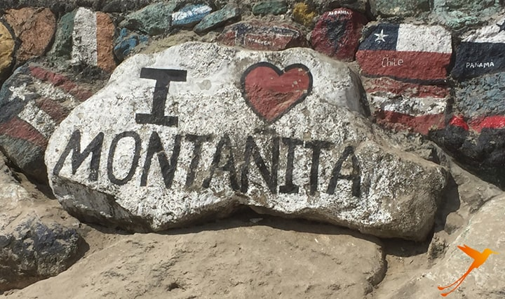 rock with montañita painting