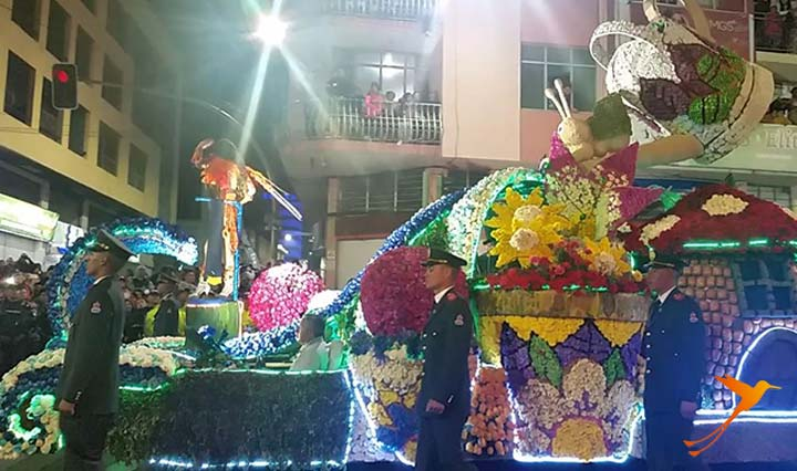 carnival parade in ambato, ecuador, in the night