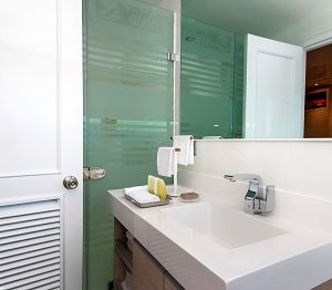 The bathrooms of the Odyssey catamaran are luxury.