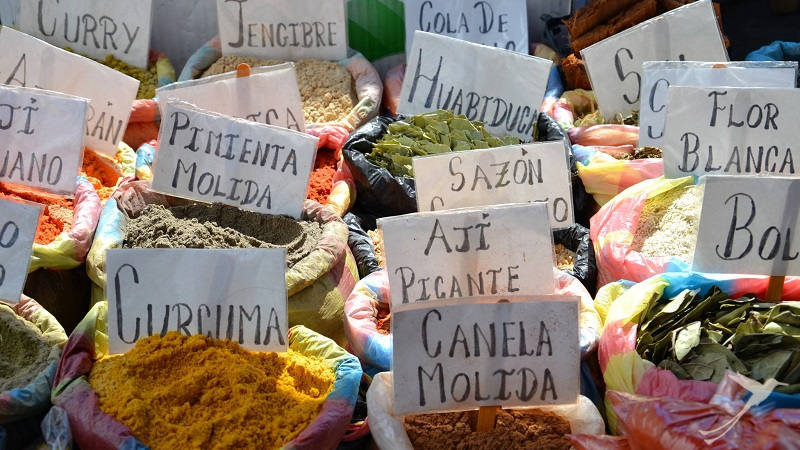 Find exotic species on the Otavalo market.