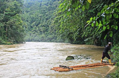 Floating raft during tayos expedition
