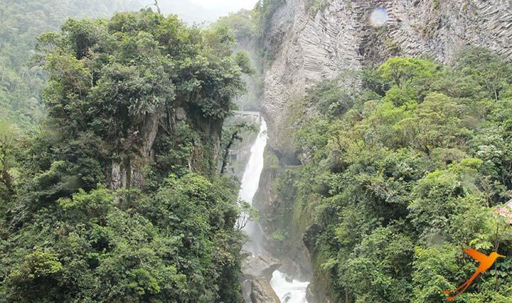 View on a wonderfull waterfall in Ecuador