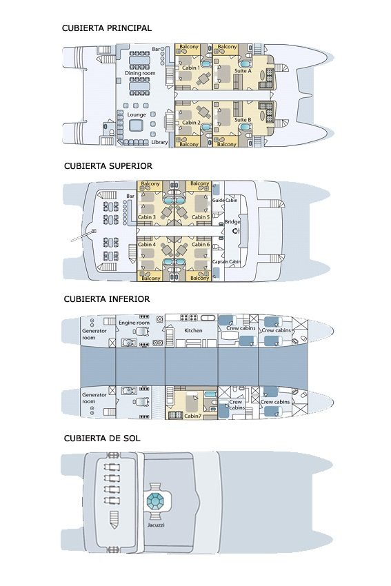 Deck plans of cormorant cruiseship