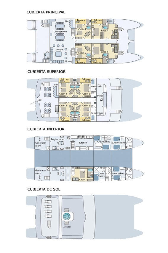 The deckplan of Cormorant gives an overview of the catamaran.