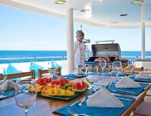 Enjoy delicious food on board the yacht Cormorant