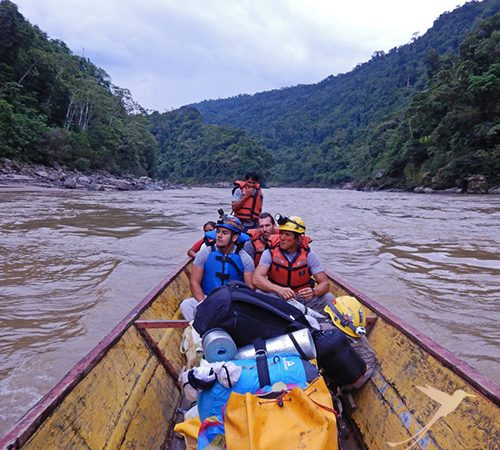 Canoe in the Amazon. Cueva de los Tayos Adventure