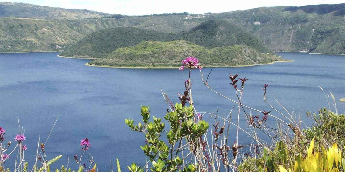 The Cuicocha lagoon is a beautiful hiking reagion near Otavalo