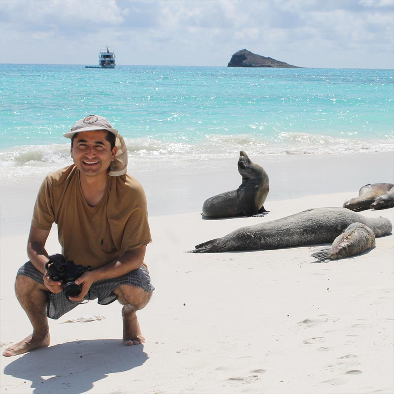 Diego Arias at the Galapagos Islands