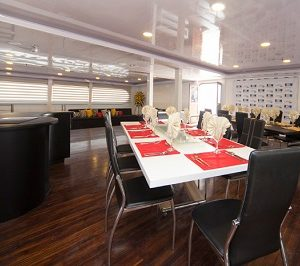 Enjoy your meals in the luxury dining area of Petrel