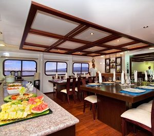 Enjoy your dishes in the dining room of Cormorant Luxury cruise