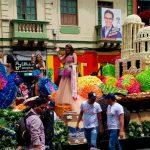 La fiesta de frutas y flores involves a big parade of colorfully decorated floats