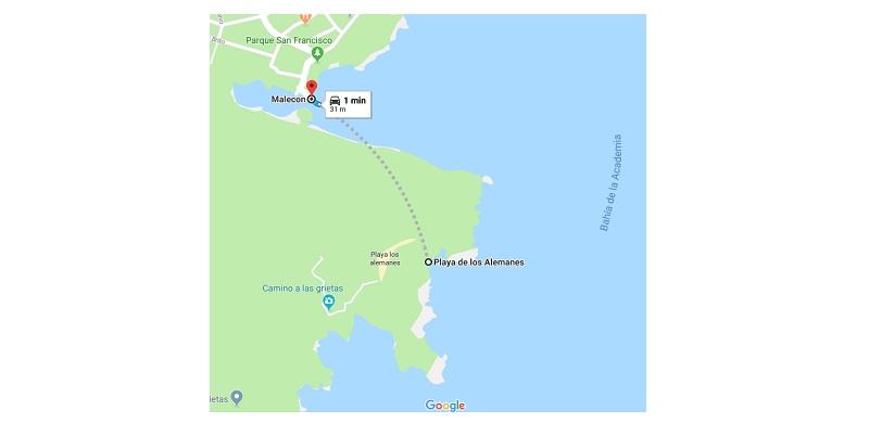 Map distance malecon to playa de los alemanes