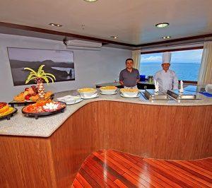 Enjoy an excellent buffet on board the Ocean Spray