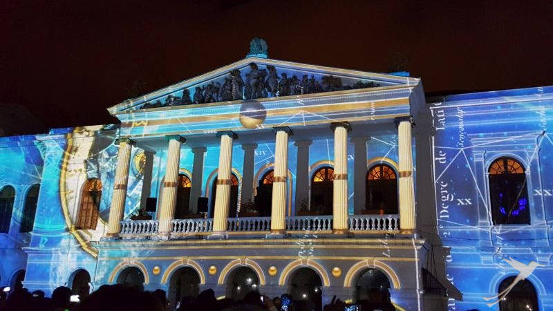 The fiesta de la luz illuminates the old town of Quito in different colors.