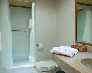 The bathrooms of the Seaman Journey cabins are comfrotable