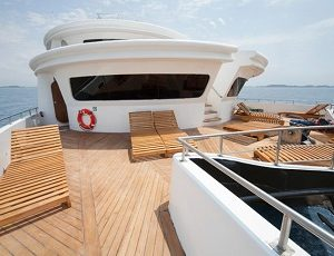 Relax on the sun deck of the Petrel Yacht.