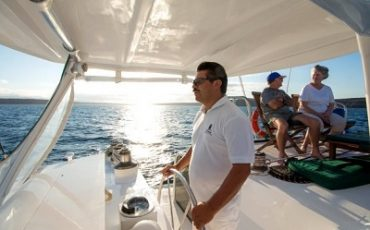 Meet the crew on deck of Catamaran Nemo II.